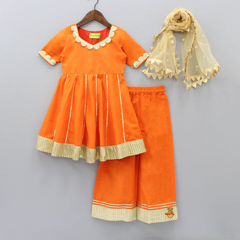 Pre Order: Orange Top And Palazzo Pant With Beige Dupatta