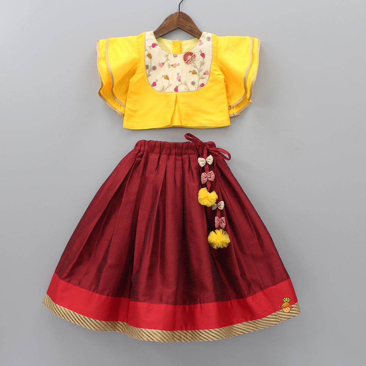 Pre Order: Yellow Embroidered Top And Maroon Lehenga