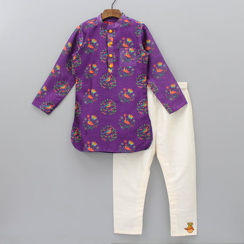 Pre Order: Purple Printed Kurta And Cream Pyjama