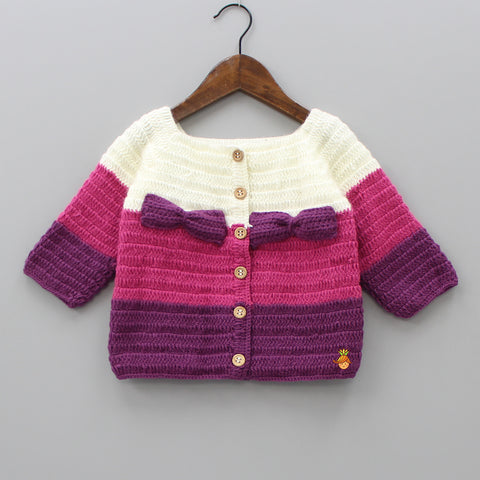 Multicolour Bowy Crochet Sweater