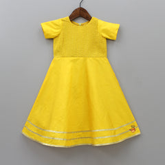 Pre Order: Yellow Gown With Asymmetric Open Jacket