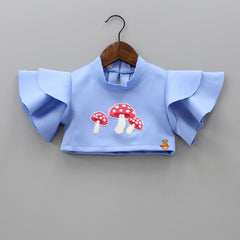 Pre Order: Blue Mushroom Patch Top And Short Skirt