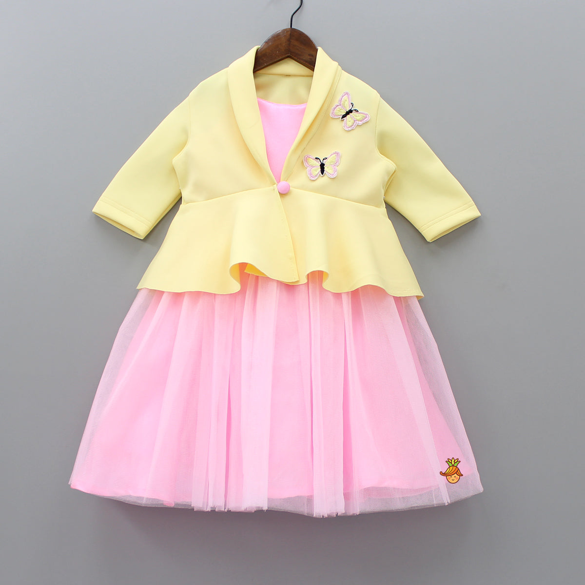 Pre Order: Pink Gown With Yellow Butterfly Patch Peplum Jacket