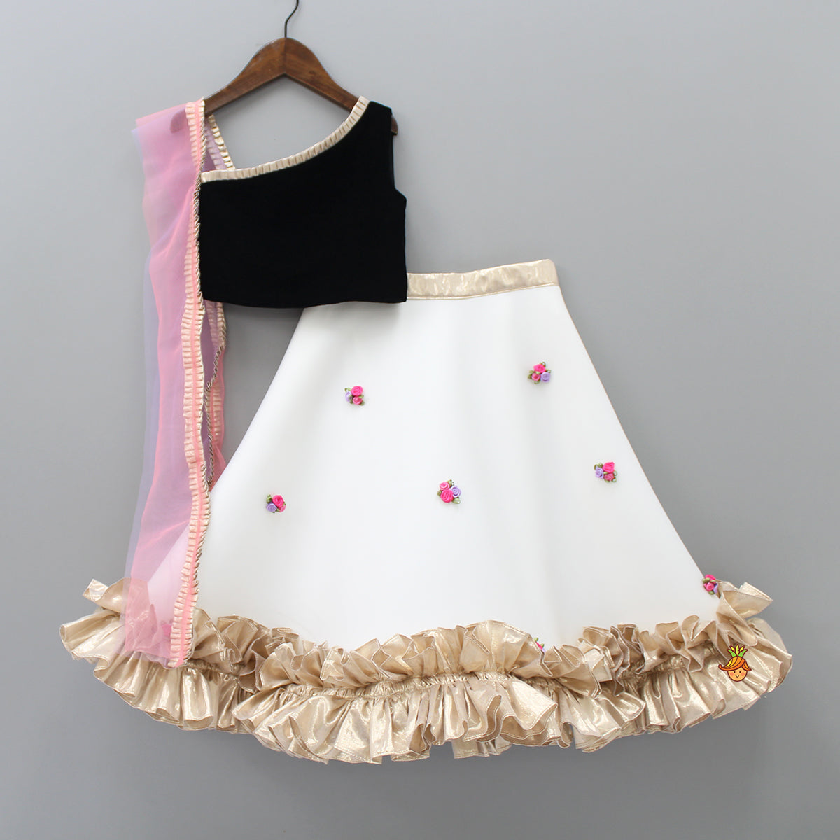 One Shoulder Black Velvet Choli With Attached Dupatta And White Leheng Little Muffet