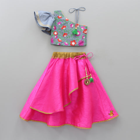 Pre Order: One Shoulder Grey Embroidered Top And Hot Pink Ghagra