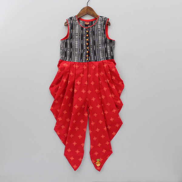 Black And Red Dhoti Style Jumpsuit