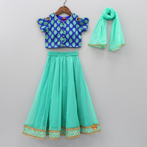 Dark Blue Top And Green Lehenga With Dupatta