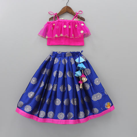 Pre Order: Hot Pink Off-Shoulder Top And Dark Blue Lehenga