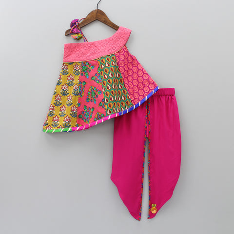 Pre Order: Multicolour Printed Top And Fuchsia Pink Dhoti