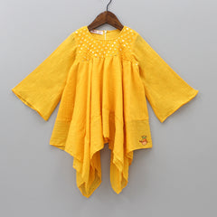 Pre Order: Yellow Frilly Asymmetric Kurti And Churidar
