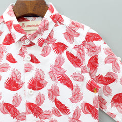 Red Leaf Print Shirt