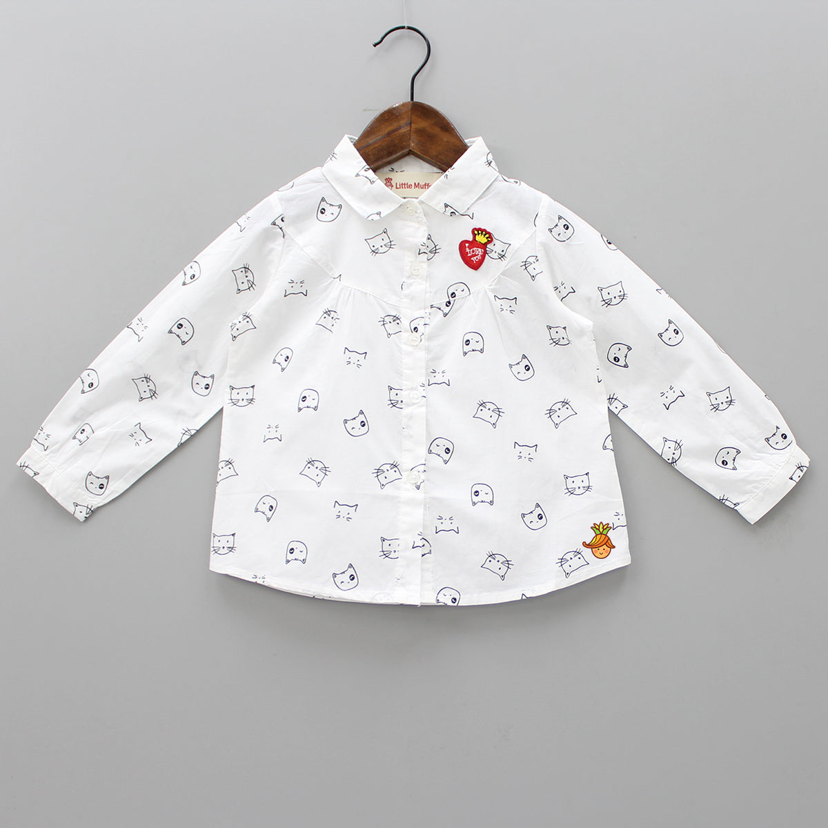 White Cat Printed Shirt
