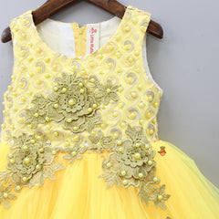 Yellow Floral Patch Dress