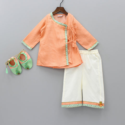 Pre Order: Light Orange Angarkha Style Kurta And Pants Set With Booties And Swaddle