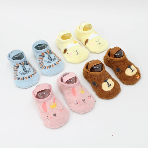 Animal Face Print Furry Socks - Set Of 4