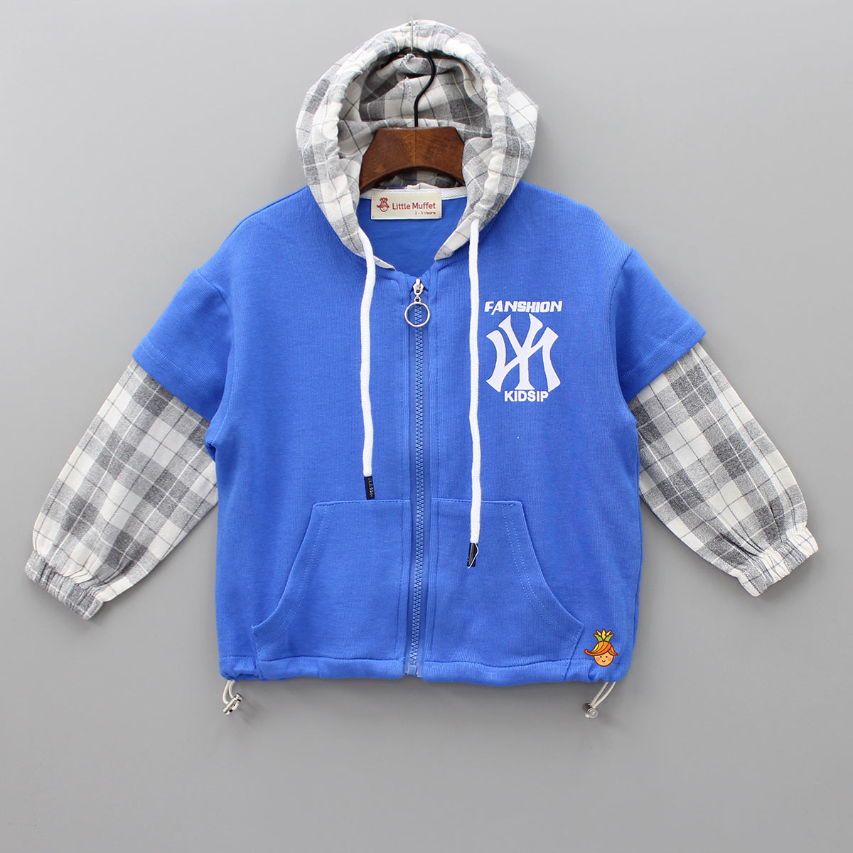 Blue Jacket With Checks Hoodie