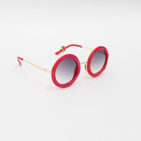 Pinkish Red Round Sunglasses