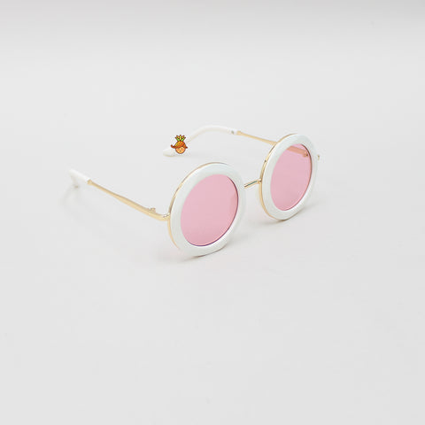 Round White Frame With Pink Shades Sunglasses