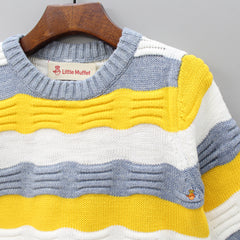 Yellow And Grey Striped Round Neck Sweater