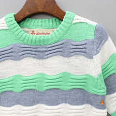 Green And Grey Striped Round Neck Sweater
