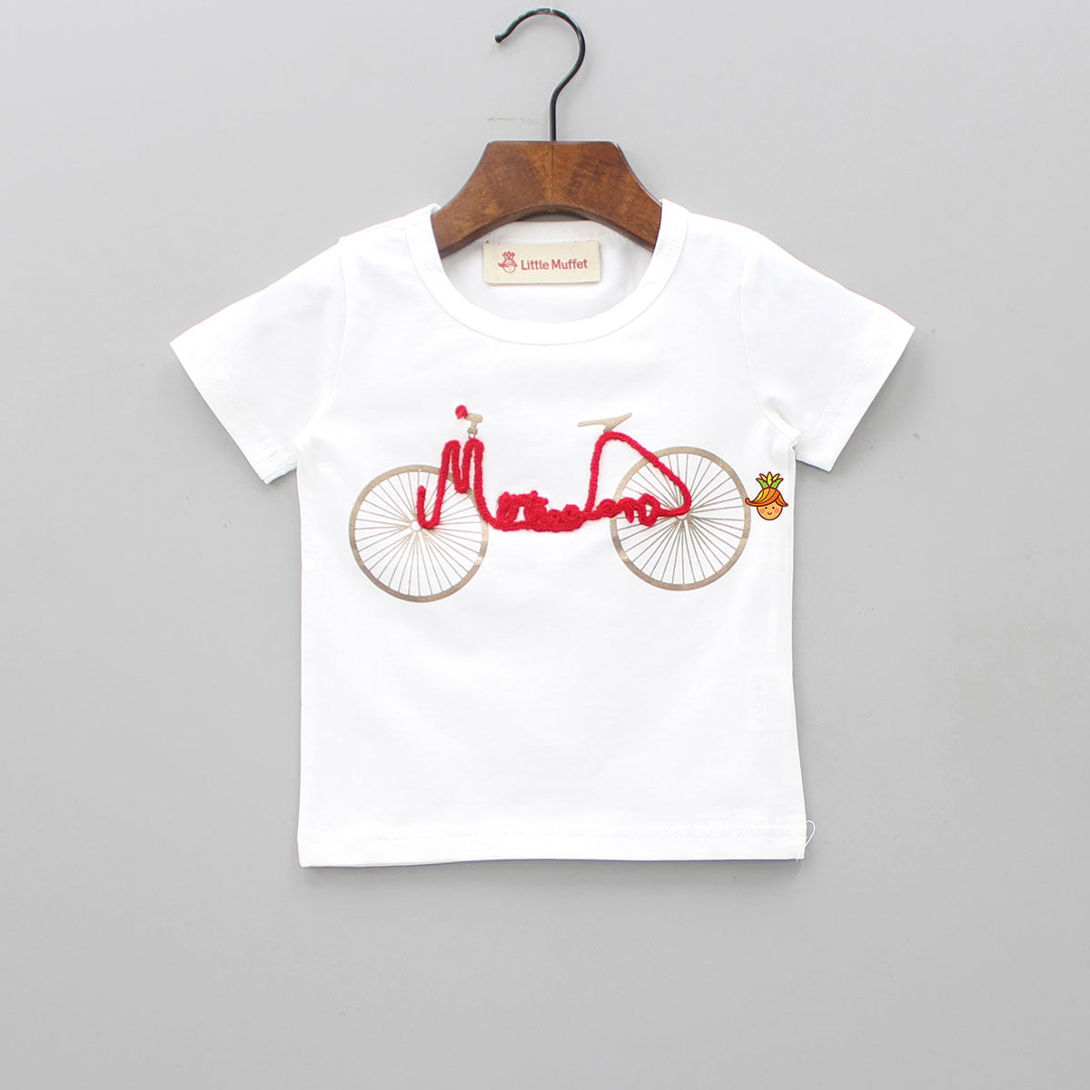 White Embroidered Cycle Tee