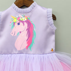 Purple Unicorn Print Frilly Dress With Sling