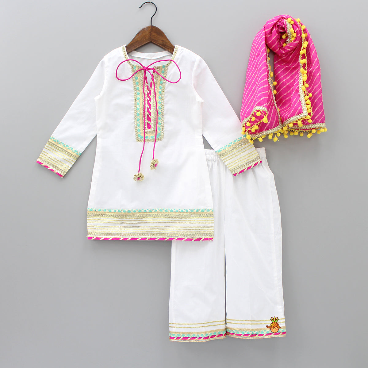 Pre Order: White Kurta And Palazzo With Dupatta