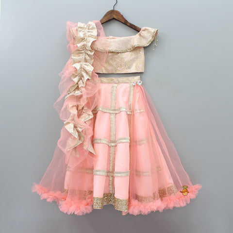 Rose Gold Top And peach Lehenga With Frilly Dupatta