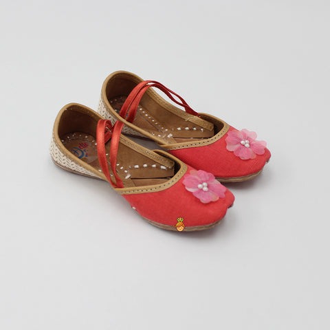 Coral Red Jutti With Cross Strap
