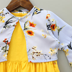 Yellow Dress With Floral Print Shrug