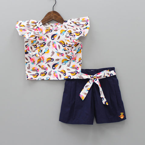 Multicolor Bird Printed Top And Navy Blue Shorts Set