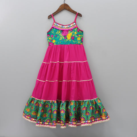 Fuchsia Pink Floral Printed Anarkali Gown