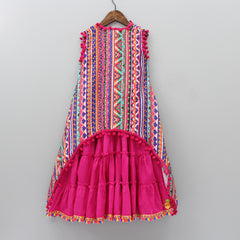 Fuchsia Pink Frilly Gown With Printed Open Long Jacket