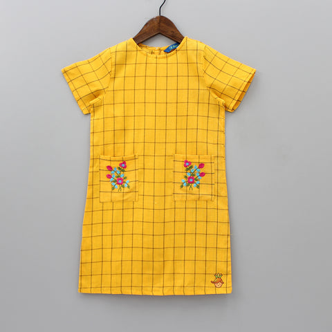 Yellow Checks Dress With Embroidered Pockets