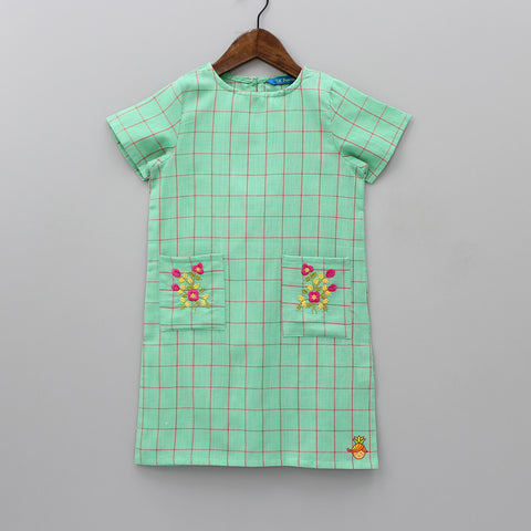 Green Checks Dress With Embroidered Pockets