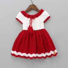 Red And White Crochet Dress With Booties And Cap