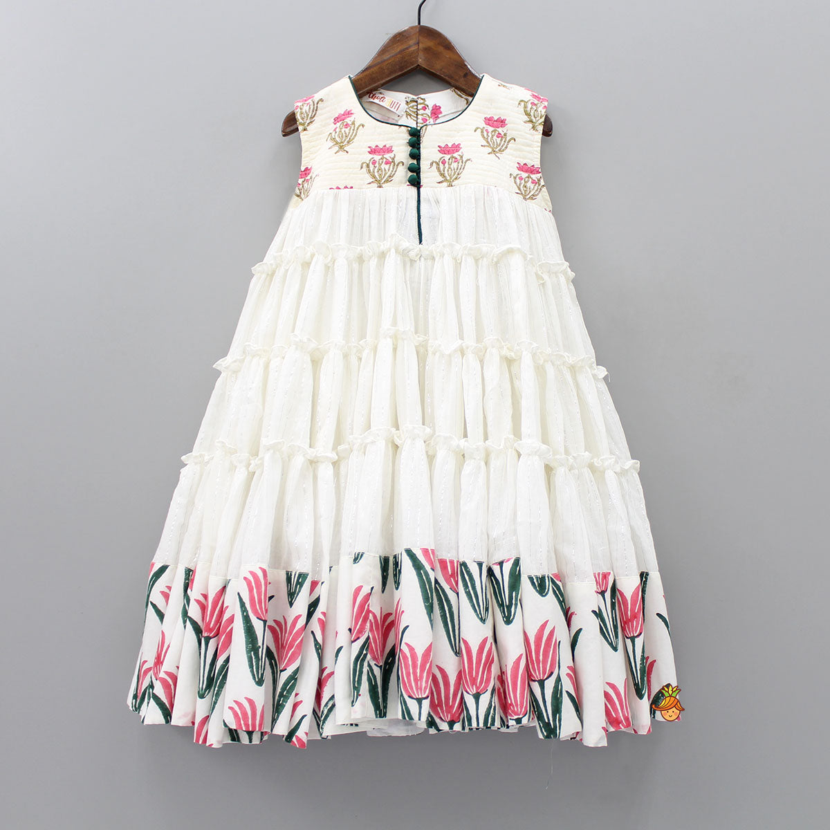 Pre Order: Lotus Print White Frilly Gown