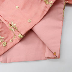 Pre Order: Peach Embroidered Top And Lehenga With Dupatta