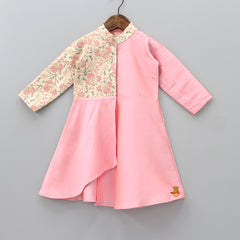 Pre Order: Floral Embrpidered Pink Kurta And Beige Churidar
