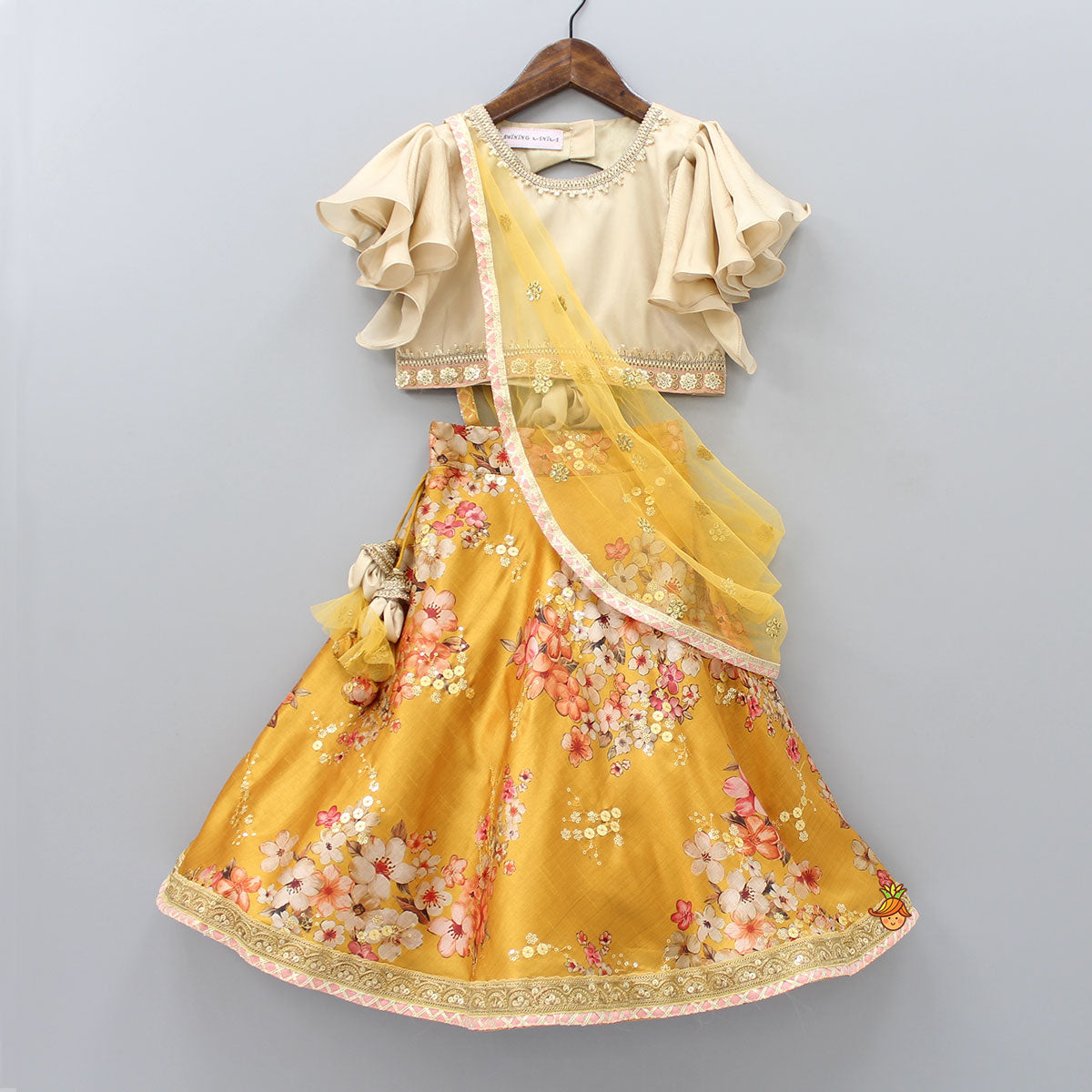 Pre Order: Top With Attached Dupatta And Floral Print Lehenga