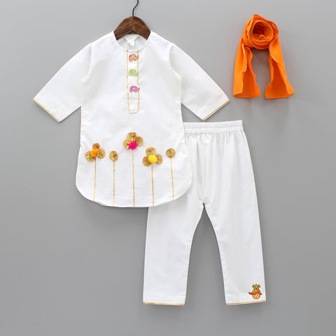 Elephant Show Buttons Kurta And Pant With Dupatta