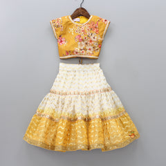 Pre Order: Floral Print Top With Lehenga And Frilly Dupatta