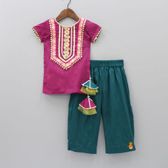 Pre Order: Sequin Work Kurta And Pant With Dupatta
