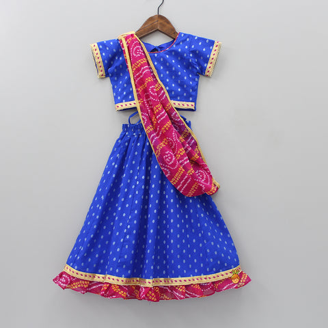 Choli And Lehenha With Bandhani Print Dupatta
