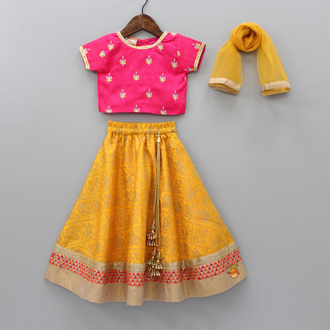 Embroidered Top And Printed Lehenga With Dupatta