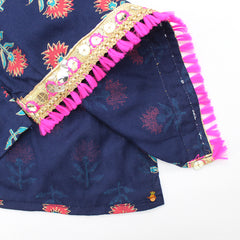 Floral Print Navy Blue Top And Striped Dhoti