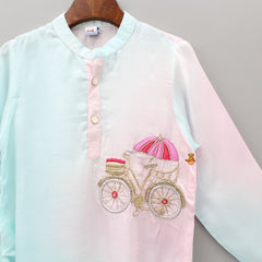 Cycle Embroidered Shaded Kurta