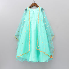 Anarkali With Sequin Work Cape