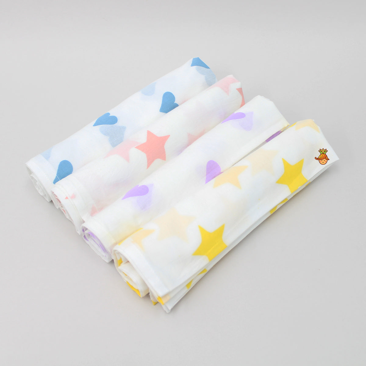 Organic Hearts And Stars 4 Swaddle - Set 1