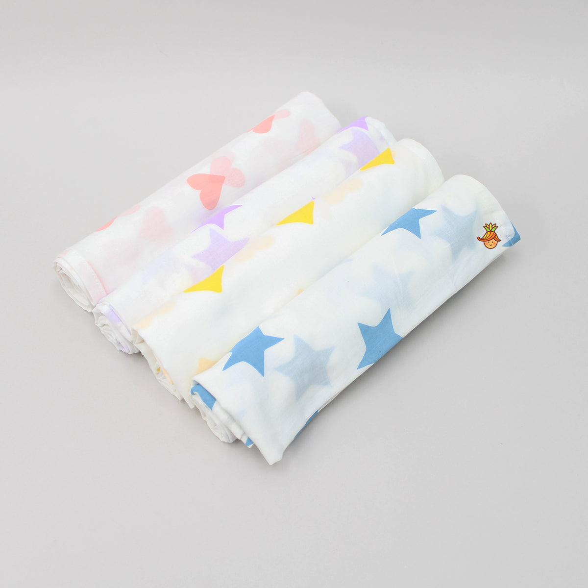 Organic Hearts And Stars 4 Swaddle - Set 2